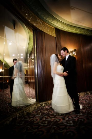 Newlyweds by the hall
