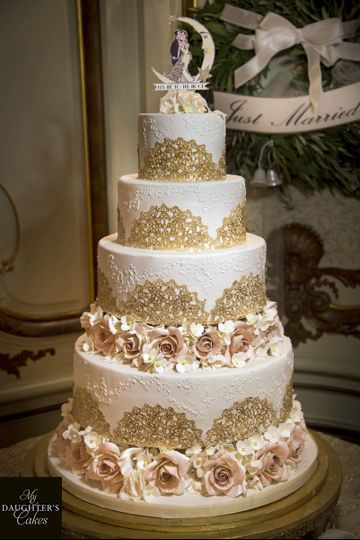 Gold lace cake with sugar flowers