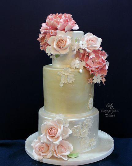 Soft gold metallic elongated cake
