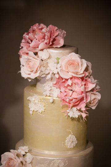 Closeup of sugar flowers: peonies, roses and blossoms
