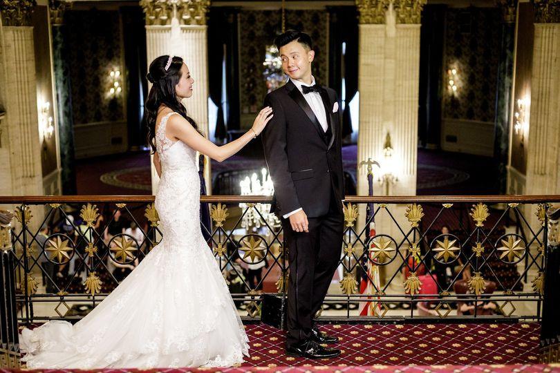 Newlyweds share a glance
