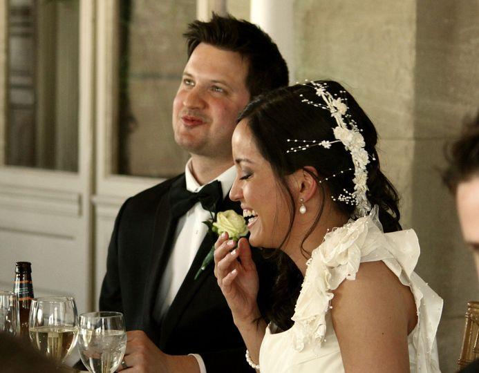 The couple enjoying their food