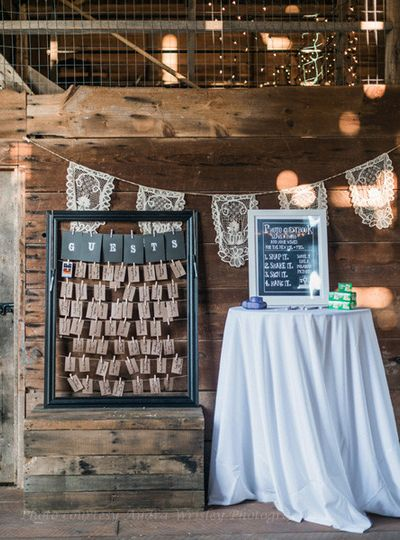 Antique lace calls attention to the creative seating cards display at Rocklands Farm. (Courtesy...