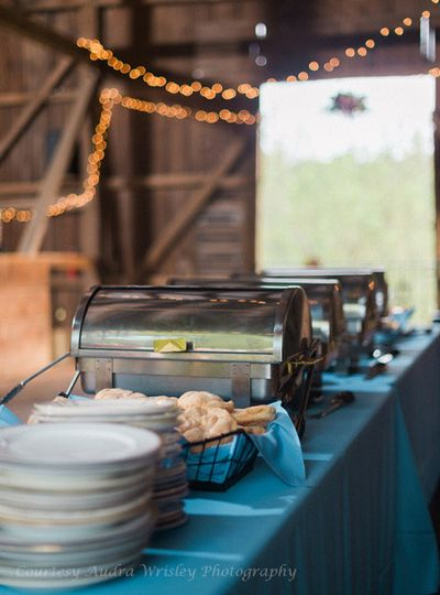 The teal blue theme continues with the serving line linens in the barn at Rocklands Farm. (Courtesy...