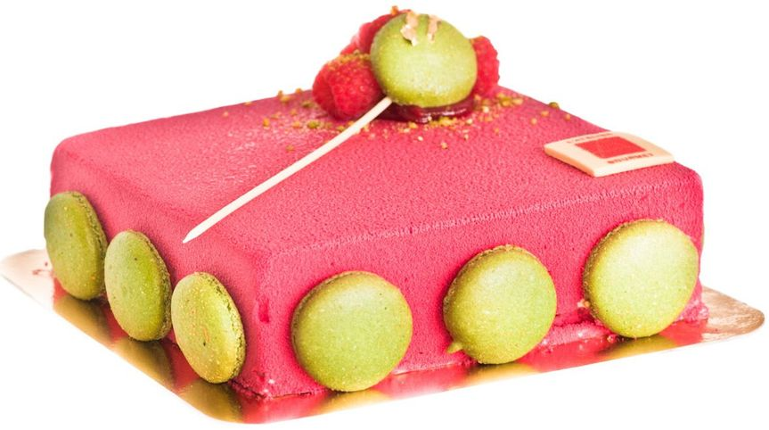 One of the Best - The Rouge  Mascarpone mousse folded with raspberry bits and vanilla, filled with a...