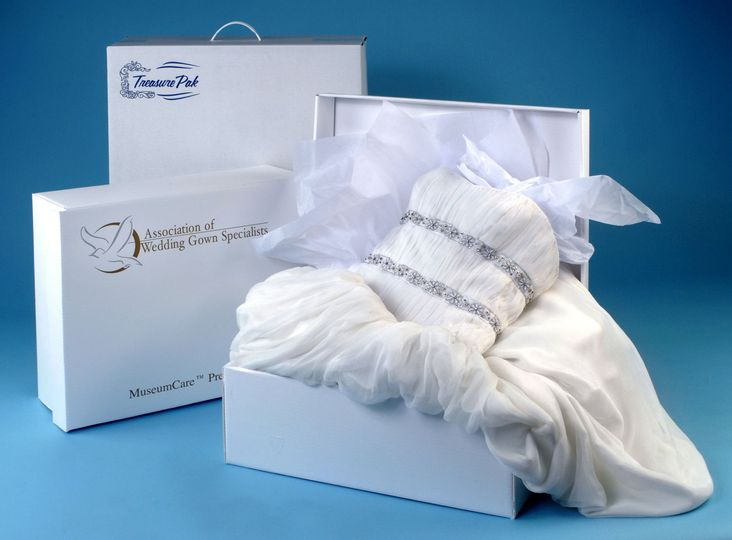 Dry cleaned dress in packaging
