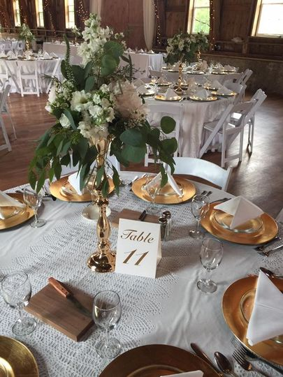 Round table setup with gold plates