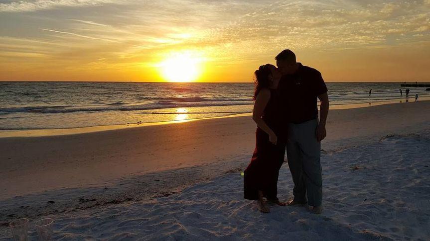 Sunset beach kiss