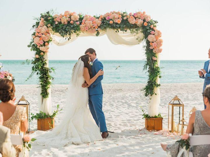 Tmx Couple Under Cedar Arch With Blush Peach Hyd Rose Garland Of Silvver Dollar W Plumoisa 51 22880 Sarasota, FL wedding florist
