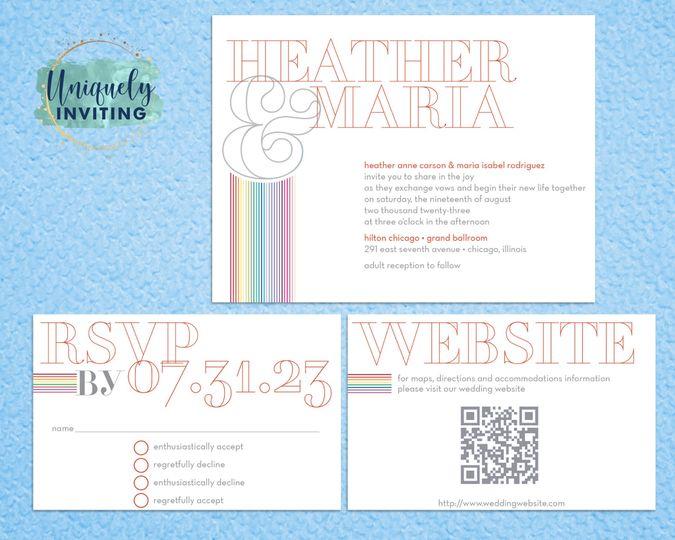 """""""Rainbow Outline"""" Invitations"""