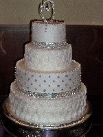 Wedding cake with silver decorations