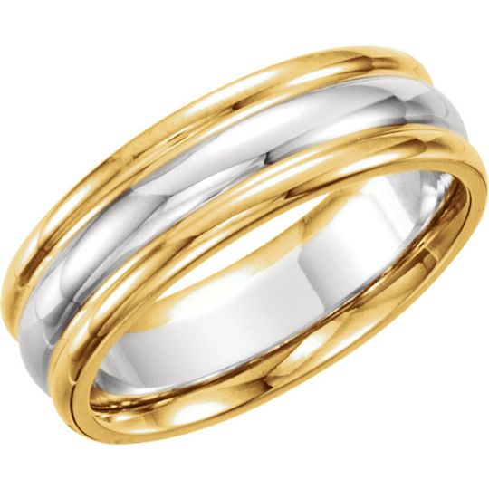 Men's and ladies wedding band available in 14k yellow or white gold or two-tone.