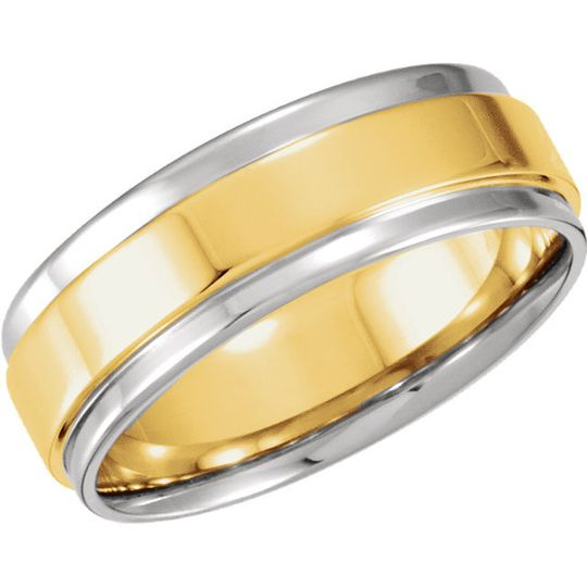 14kt Two-Tone Comfort-Fit Flat-Edge men's and women's wedding band.  Available in many combinations...
