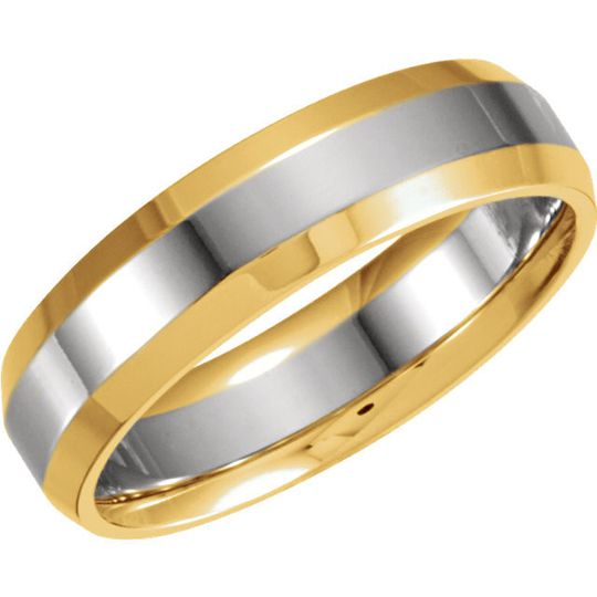 14kt Two-Tone Comfort-Fit men's and ladies wedding band. Available in many combinations of metals -...