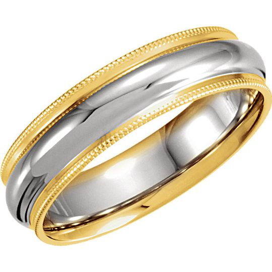 14 or 18kt Two-Tone Comfort-Fit men's and ladies wedding band.  Available in many combinations of...