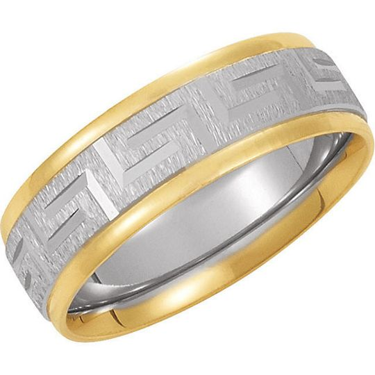 14kt or 18kt Yellow and White Two-Tone Comfort Fit Design men's and ladies wedding band.  Available...