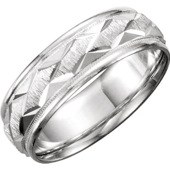 Designer men's and ladies wedding band available in 10, 14, 18 kt gold or continuum silver with...