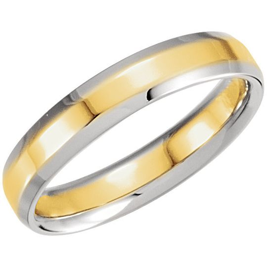 Two-Tone Comfort-Fit Beveled Edge men's and ladies wedding band.  14 or 18 kt white or yellow gold.
