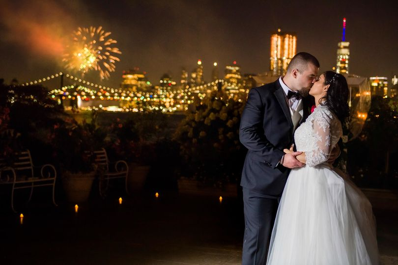 Wedding at Giando on the Water during a fireworks show!