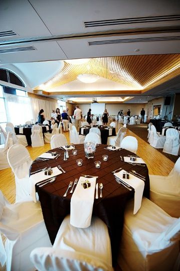 Chocolate brown Pintuck linen, Ivory chair covers.  Photo taken at the Fairfield community arts...