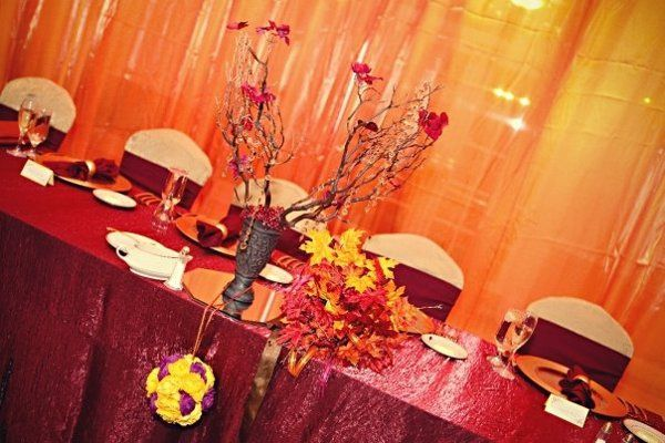 Burgundy Iridescent Crush linen and gold crush chair covers.  Event at Manor House, Daphne Photo...