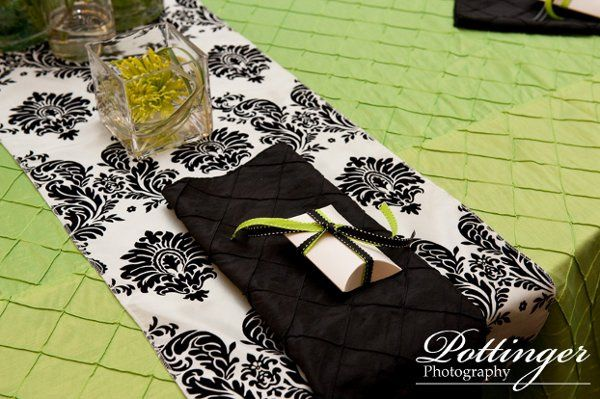 Lime green pintuck linen, black and white damask table runner, Black pintuck table linen.  Photo by...