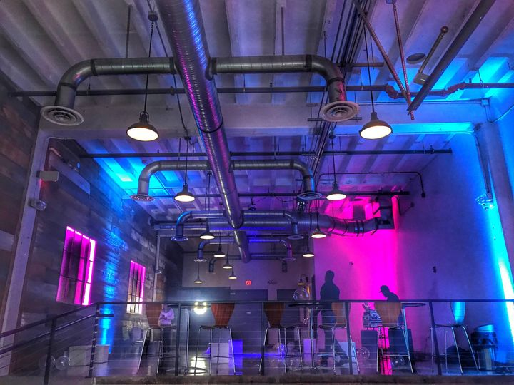 Blue and pink lights