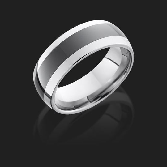 Silver and black wedding band