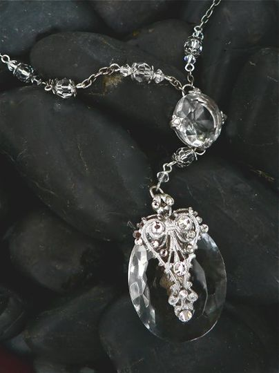 Diana ~ Polish cut crystal with antique silver overlay, and Swarovski crystal accents.