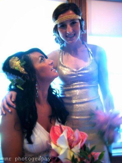 The bride with bridesmaid