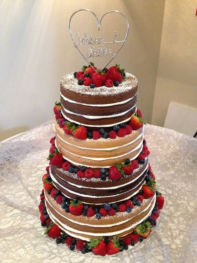 Naked cake with fresh fruit- $2.50 per serving ($2.75 for 5+ tiers)