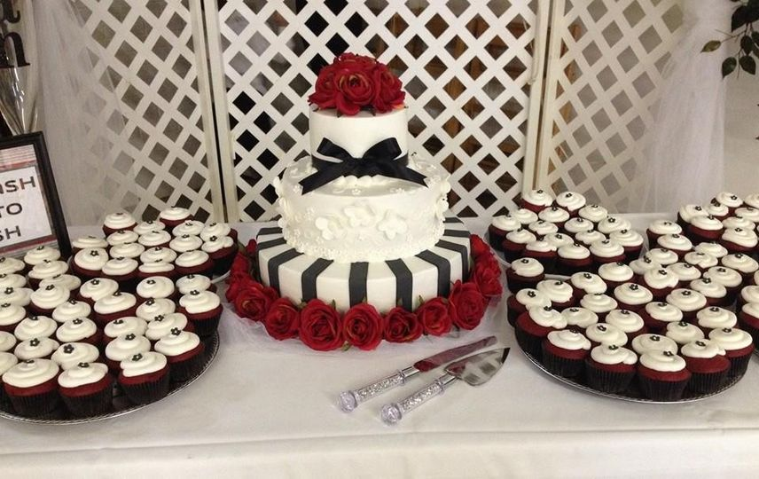 Buttercream frosted cake with fondant accents - $2.50 per serving ($2.75 for 5+ tiers)