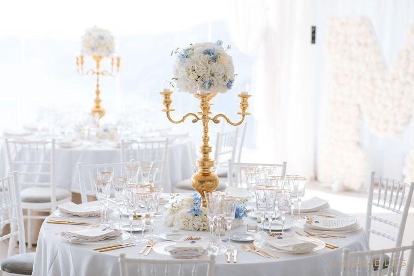 White reception setup