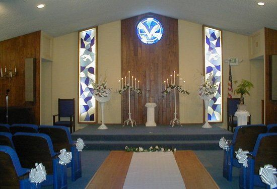 The Chapel Sanctuary, which is decorated in blue tones, accommodates up to 180 guests. A newly...