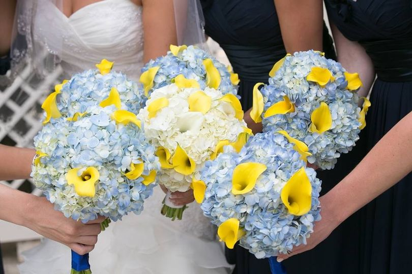 White for the bride, blue for the bridesmaids