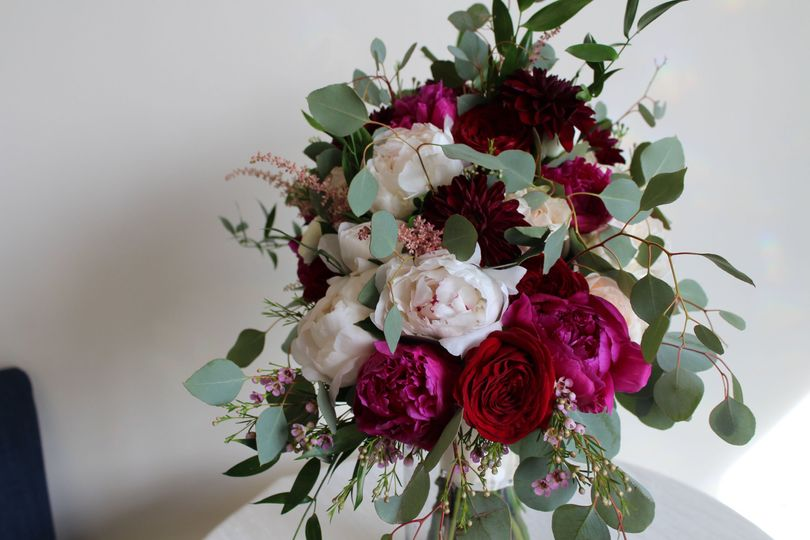 White, red, and pink flower arrangement