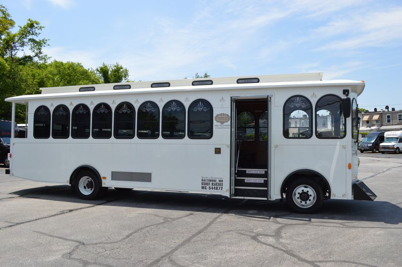 Wedding white trolley exterior
