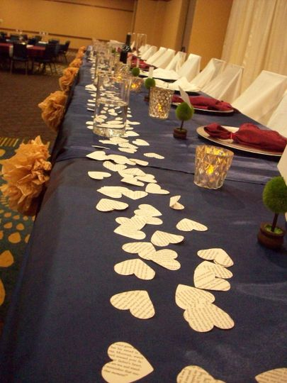 Paper hearts table centerpiece