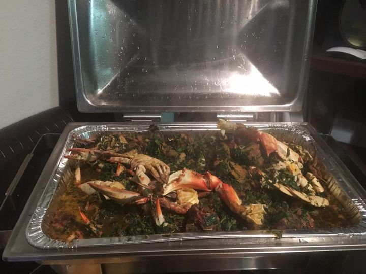 Spinach vegetable with crableg