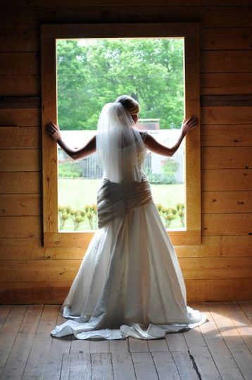 Bride in a Barn Window...
