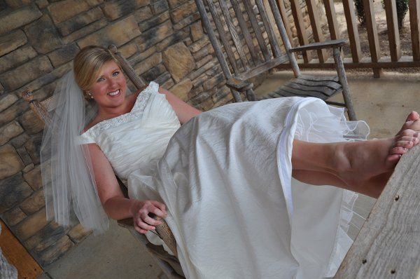"Carefree and happy bride... ready for her ""country-styled"" wedding at the
