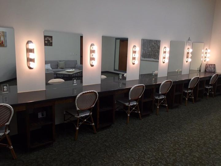 Bridal Suite has 6 makeup stations with outlets at each mirror