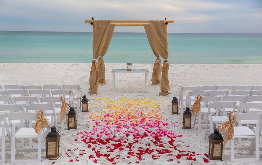 beach ceremony at a destination wedding in destin
