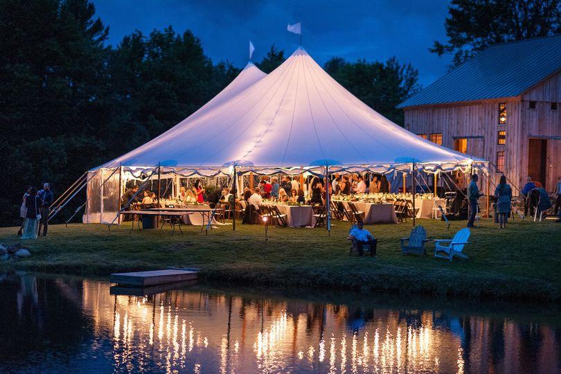 Wedding tent reception