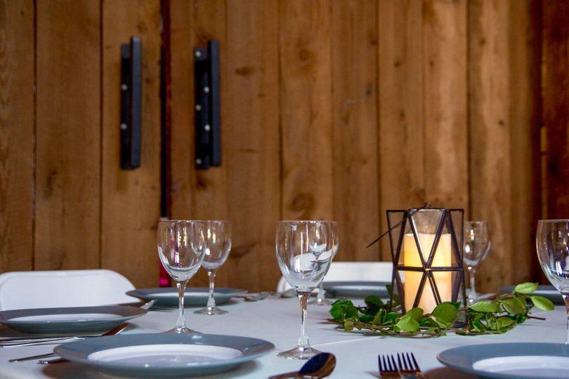 Modern rustic table setting