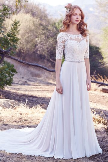 Darcy		This Aurora Chiffon A-line features a lace bodice with illusion elbow sleeves and...