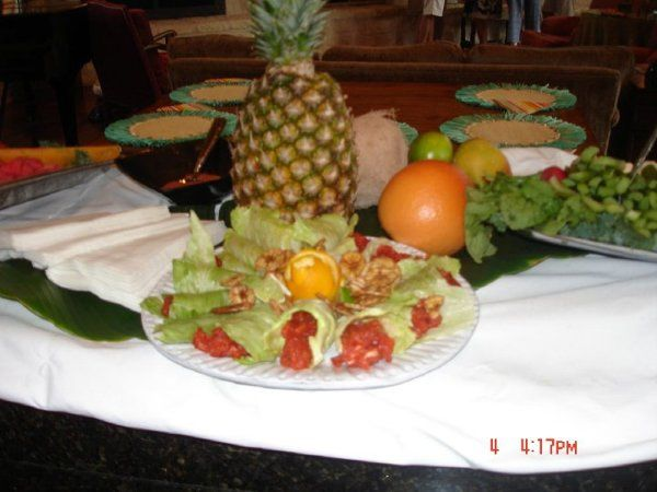 Fresh fruit station with whole pineapple