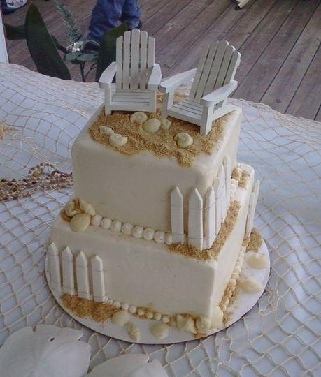 Beach Wedding Cake with gumpaste fencing, white chocolate shells and keepsake beach chairs.