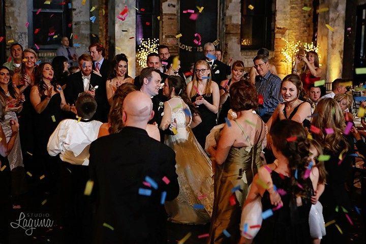 Confetti cannons, lights, & wedding dj at aria in minneapolis