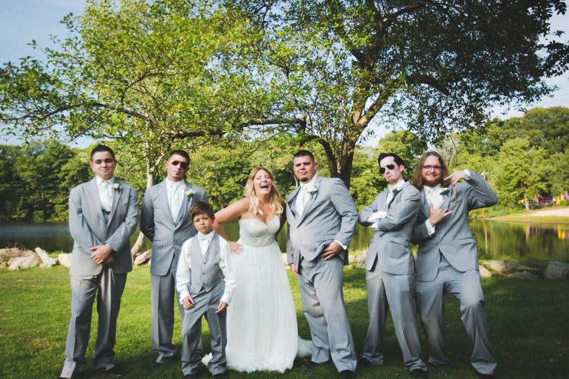 The couple with the groomsmen